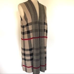 Leo & Nicole Tan Red Black Plaid Sweater Vest